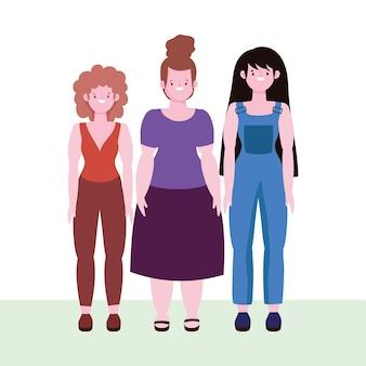 Diversidade e inclusão, mulheres felizes de diferentes estaturas e tamanhos
