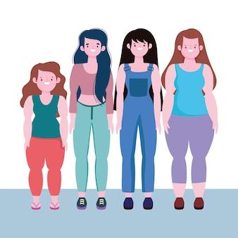 Diversidade e inclusão, mulheres felizes juntas de diferentes estaturas e tamanhos