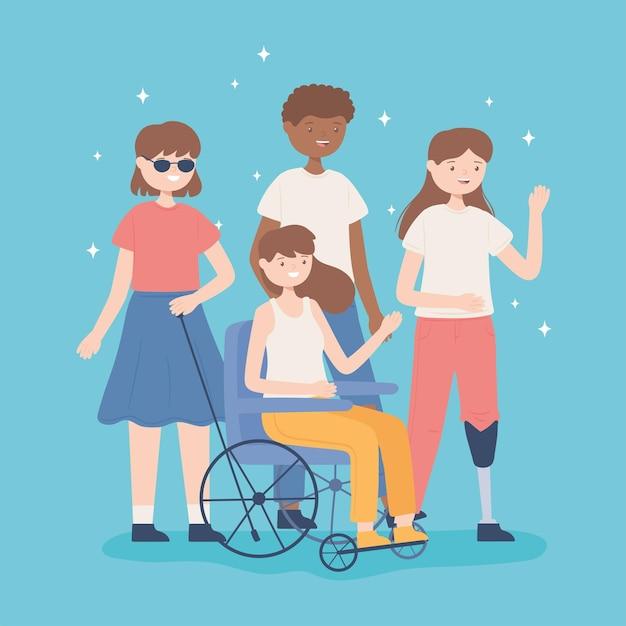 Diversidade pessoas e deficientes