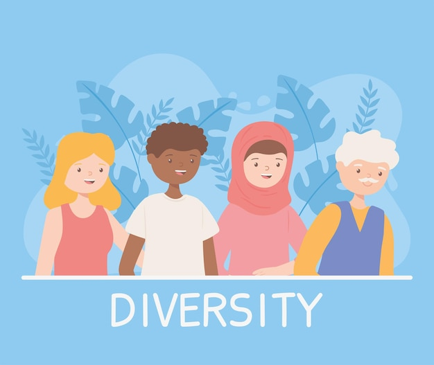 Diversity people cartoon