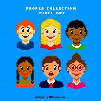 Diversos avatares pessoas pixelated