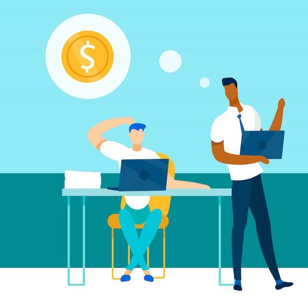 Diversos colegas de trabalho dialogam sobre como ganhar dinheiro
