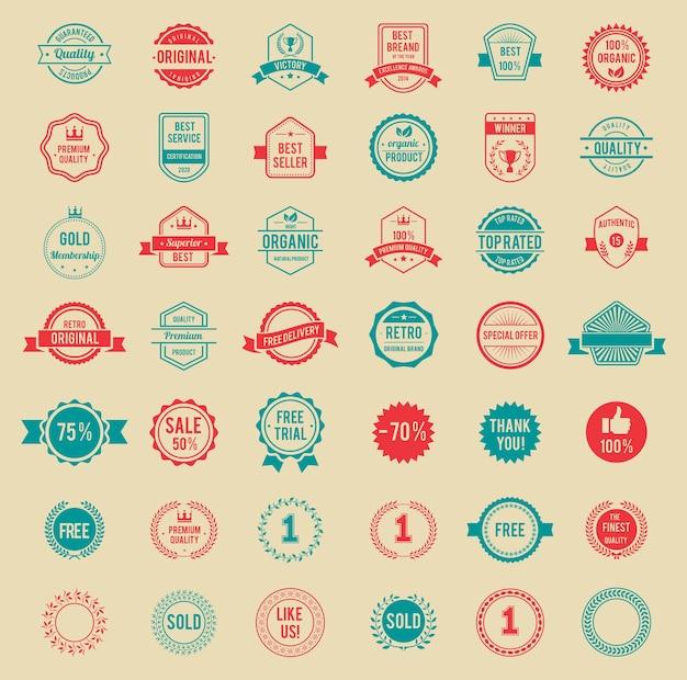 Diversos designs, emblemas e etiquetas vintage coloridas