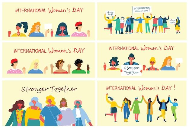 Diversos grupos internacionais e inter-raciais de mulheres em pé