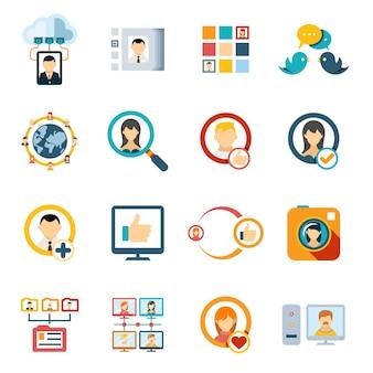 Diversos ícones coloridos de mídia especial plana isolados no fundo branco.