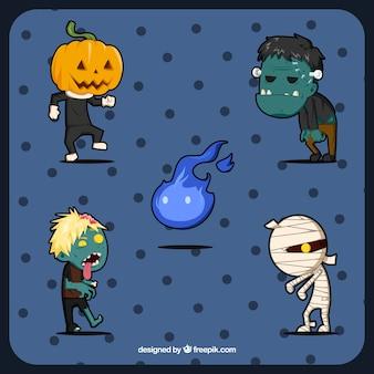 Diversos monstro desenhados à mão, prontos para halloween