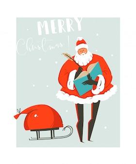 Divertido cartão de feliz natal com ilustração de tempo com papai noel e um saco com muitos presentes surpresa em um trenó isolado no fundo azul