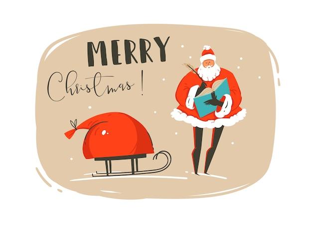 Divertido cartão de ilustração de tempo de feliz natal com papai noel, saco de muitos presentes surpresa no trenó e tipografia moderna isolada no fundo de papel do ofício.