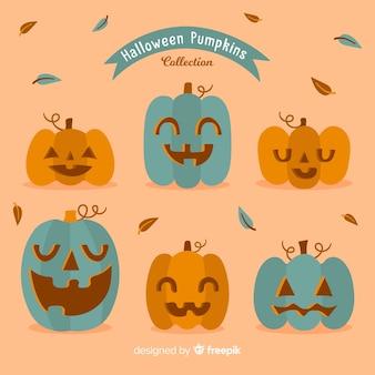 Divertido coleção de abóbora de halloween com design plano