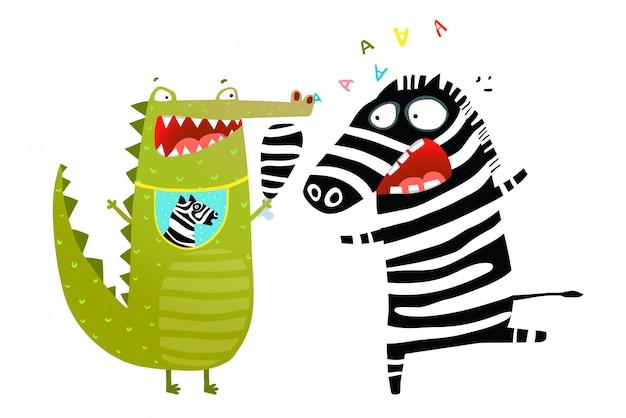 Divertido crocodilo comendo desenhos animados de zebra