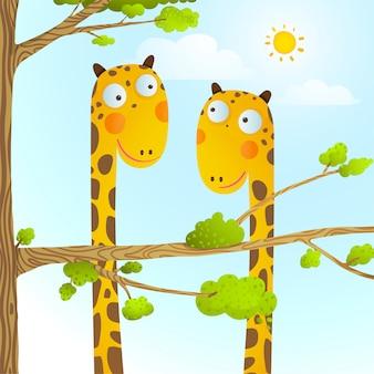 Divertido desenho animado bebê girafa animais selvagens para crianças desenho