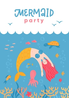 Divertido desenho de sereia e vida marinha para cartão de convite de festa