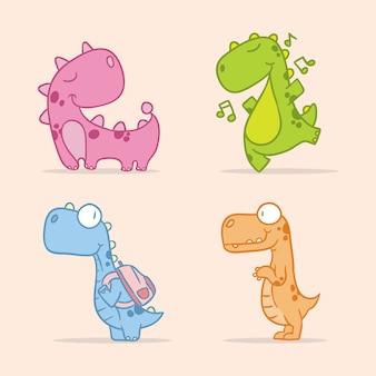 Divertido dinossauro personagem fofa animal linha artística