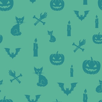 Divertido halloween icons seamless background pattern.