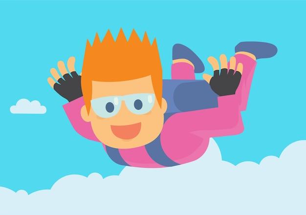 Divertido jovem rapaz desfrutando de mergulho de céu saltar do avião