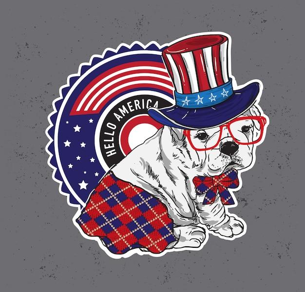 Divertido personagem cachorrinho com chapéu do tio sam dizer olá américa