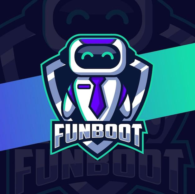 Divertido personagem de design de logotipo de mascote de robô