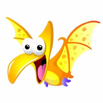 Divertido personagem de dinossauro dos desenhos animados.