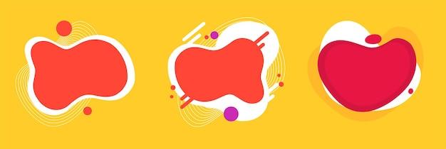 Divertimento abstrato de elementos de formas de fundo fluido curvado para crianças padrão de festa vermelho amarelo