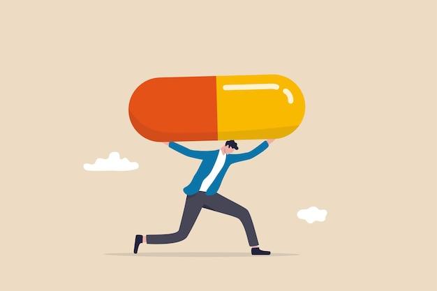 Dívida médica, cuidados de saúde e custos de tratamento da doença de covid-19, despesas de hospital ou conceito de contas de medicamentos e medicamentos, faliu homem carregando uma dívida gigante de medicamentos após a cura de covid-19