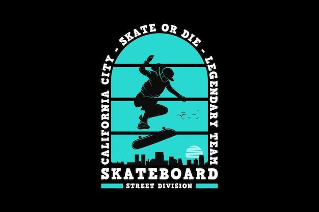 Divisão de rua de skate, design de estilo urbano de silhueta.
