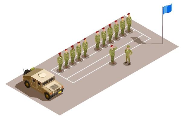 Divisão de serviço militar composição isométrica