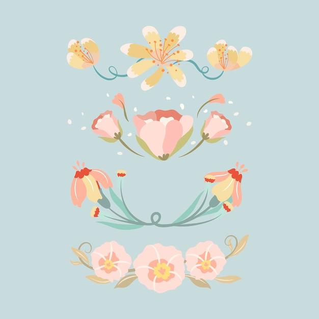 Divisor de flores, conjunto de ilustração vetorial de adesivo fofo pastel