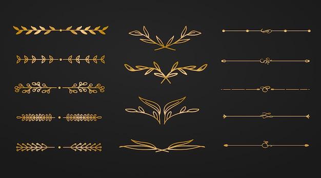 Divisor de flores de ornamento dourado