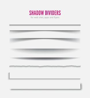 Divisor de páginas. efeito de sombra de papel realista transparente