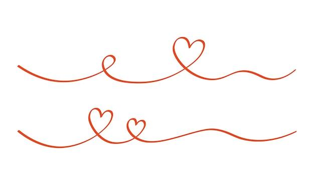 Divisor de redemoinho de coração e amor. estilo de doodle esboço desenhado de mão. ilustração em vetor linha rabisco coração segmento. amor e conceito de casamento.