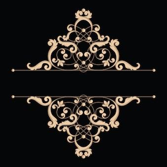 Divisor ou moldura em estilo retro caligráfico isolado
