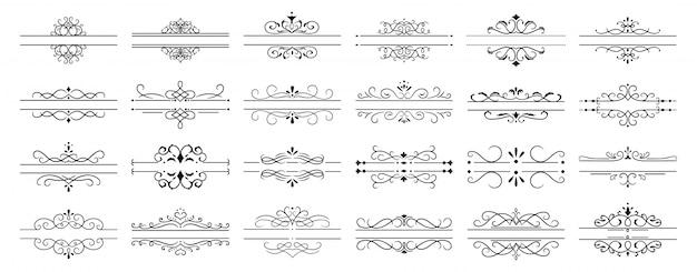 Divisores caligráficos. bordas de divisor de página retrô decorativo, quadro caligráfico de casamento e redemoinhos ornamentais molduras conjunto de ícones vintage
