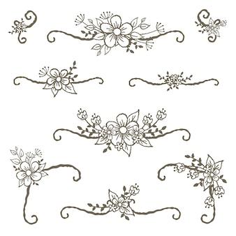 Divisores de cantos florais e decoração de linhas