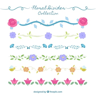 Divisores de coleção com ornamentos florais