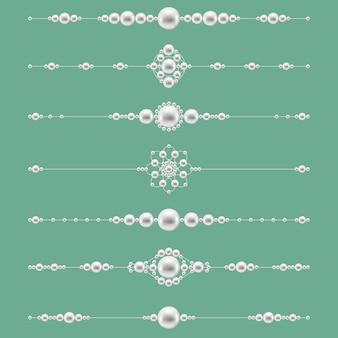 Divisores de joias de pérolas. decoração com gemas elegantes. ilustração