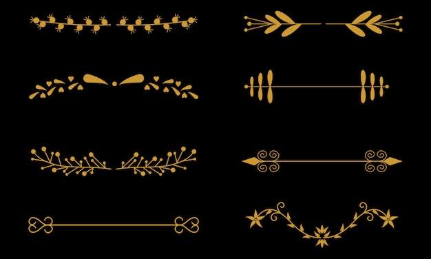 Divisores de ornamento de flor. divisor ornamental floral e esboço deixa enfeites