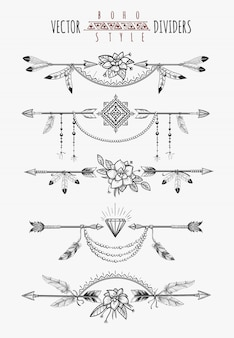 Divisores de páginas de penas de seta