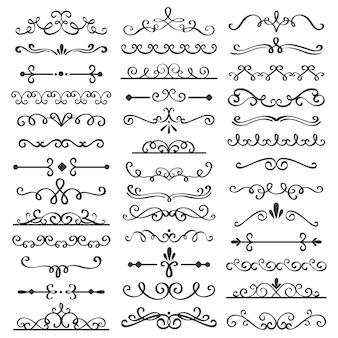 Divisores de redemoinhos decorativos. delimitador de texto antigo, ornamentos de borda de redemoinho caligráfico e conjunto de vetor de divisor vintage