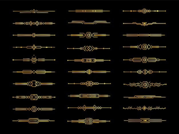 Divisores decorativos dourados em fundo preto, ilustração