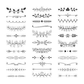 Divisores desenhados à mão. conjunto de decoração de borda ornamental