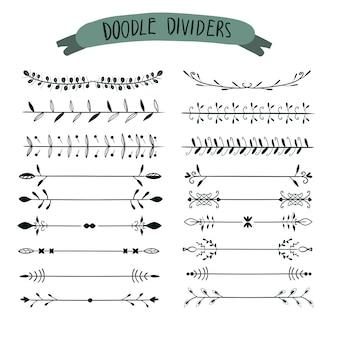 Divisores desenhados à mão. conjunto de linha, bordas e louros definido para convite de casamento de ornamento,