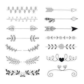 Divisória ornamental desenhada à mão com setas e folhas