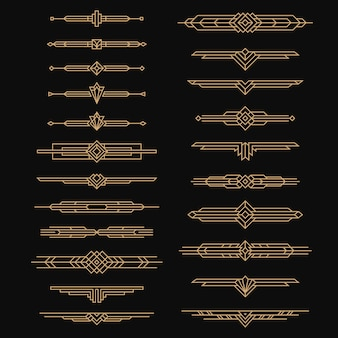 Divisórias art déco. artes artísticas vintage, estilo dos cabeçalhos dos anos 30. design de enfeites, bordas e molduras, rótulos de decoração ornamentada dourada com linhas organizadas vetor definido em preto