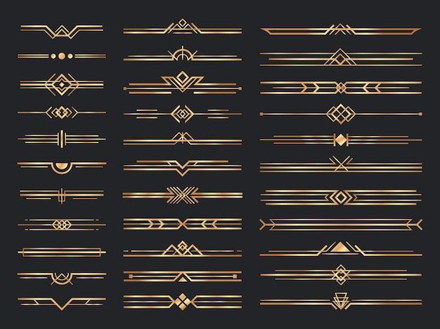Divisórias art déco douradas. ornamentos de ouro vintage, divisória decorativa e enfeite de cabeçalho dos anos 1920
