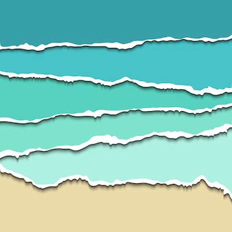 Divisórias de papel rasgado para sites da web, ilustração realista. papel rasgado azul com bordas rasgadas para divisória de papel