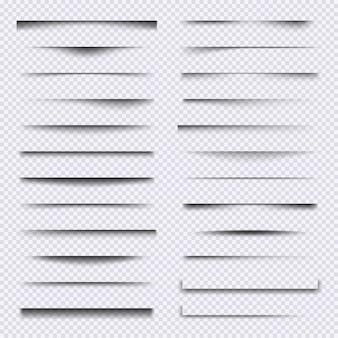 Divisórias de sombra. elementos da web realistas moldam um conjunto de vetores de efeitos de sobreposição de sombras suaves. efeito de borda da ilustração, divisória transparente da moldura