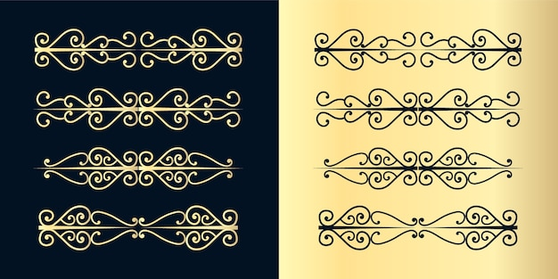 Divisórias decorativas de redemoinhos. delimitador de texto antigo, ornamentos de redemoinho caligráfico e divisor vintage, linhas de decoração de bordas retrô projetam curvas elegantes conjunto de moldura ornamental