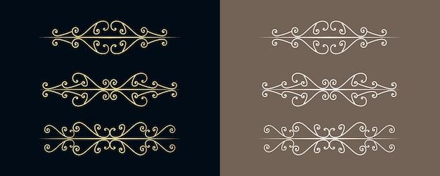 Divisórias decorativas em espiral, ornamentos em espiral e divisória vintage, bordas retrô linhas de decoração isoladas projetam curvas elegantes ornamentais