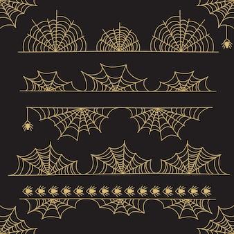 Divisórias e borda de quadro de halloween de ouro