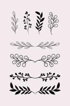 Divisórias folhas ornamentos cenografia preta do tema elemento decorativo